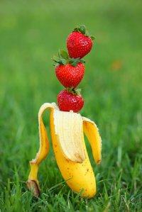 Banan i truskawki